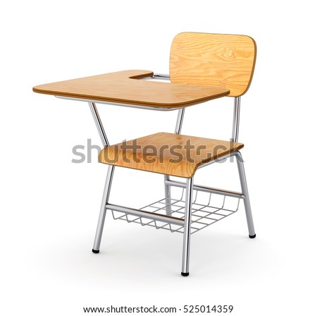 School or college desk table with chair isolated on white background. Wooden piece of furniture. 3D illustration