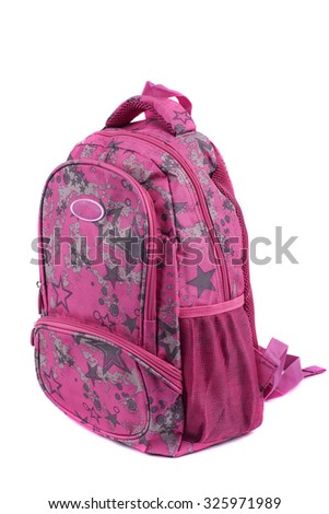 School pink backpack isolated on white - stock photo