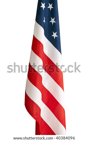 School room American flag isolated on white with a clipping path. - stock photo