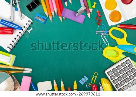 School. School stationery framing for school and office - stock photo