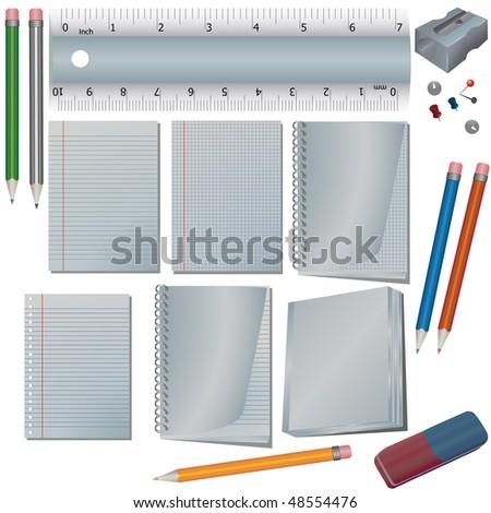 School set isolated on white - stock photo