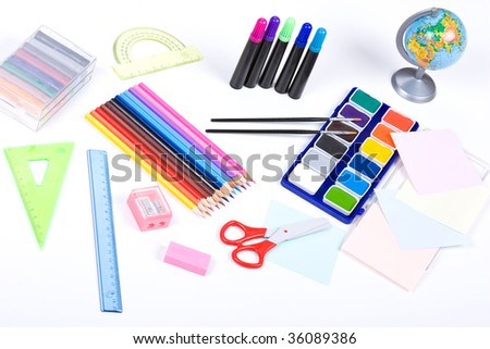 school set on white background
