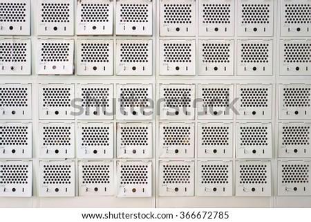 School shoes lockers in Japanese High school - stock photo