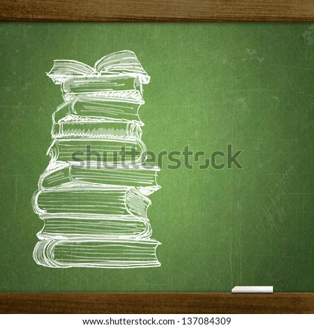 school sketches on blackboard, book - stock photo