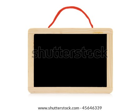 school slate with string isolated on white background - stock photo