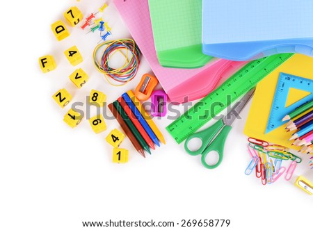 School stationery isolated on white - stock photo