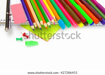 School stationery isolated over white  - stock photo