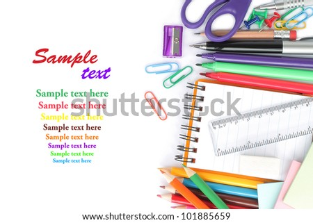 School stationery on white background - stock photo