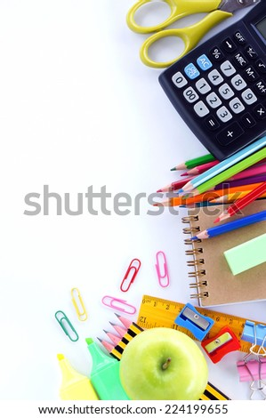 School stationery over white background - stock photo