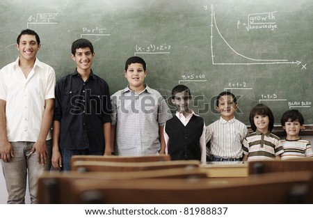 School student generations steps, from preschooler to university concept - stock photo