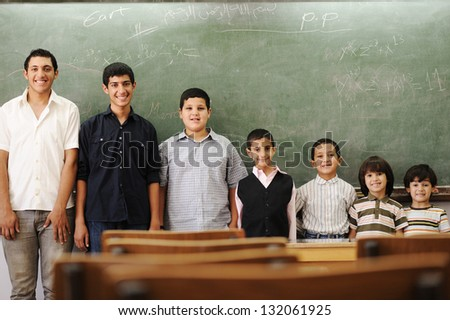 School students different ages group portrait - stock photo