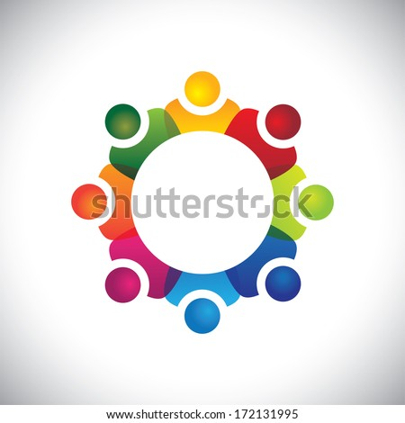 school students showing companionship and friendship . The graphic illustration can also represent employees unity, workers union, executives meeting, friendship, team work & team spirit - stock photo