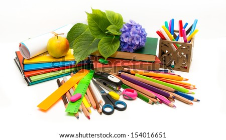 School subjects and hydrangea flower Teacher  Day (notebooks, books, crayons)