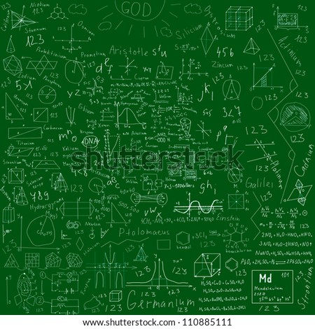 school subjects formulas and drawings -  made with chalk over green blackboard - stock photo
