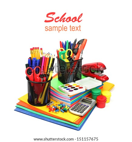 School supplies and accessories: notebook stack, pencils, paint, calculator isolated on white background.