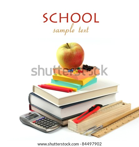 School supplies : books, calculator, apple, pencil case on white background. Back to school concept - stock photo