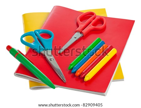 School supplies for artistic education isolated on a white background with clipping path - stock photo