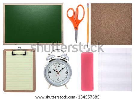 School Supplies Isolated: Chalkboard, Paper, Scissors, Pencil and Corkboard - stock photo