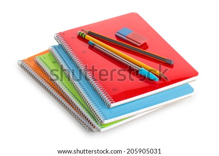 School supplies isolated on white. - stock photo