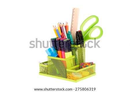 school supplies isolated on white background - stock photo