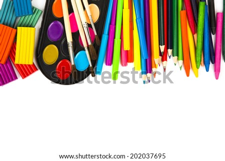 School supplies on white background - stock photo