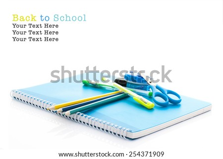 School supplies on white background, Back To School Concept With Copy Space - stock photo