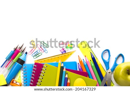School supplies on white background ready for your design - stock photo