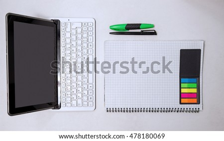 School supplies. Stationery on white background.