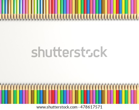 School supplies with colored pencils sharp in two rows on the edge of the whie paper background. Back to School flat lay and top view theme. 3d illustration