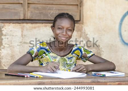 School Symbol: Super Gorgeous African Schoolgirl Light Smile  - stock photo