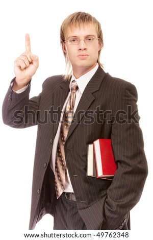 School teacher with books lifts finger upwards, isolated on white background. - stock photo