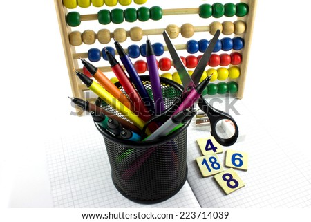 School things isoleted on white - stock photo