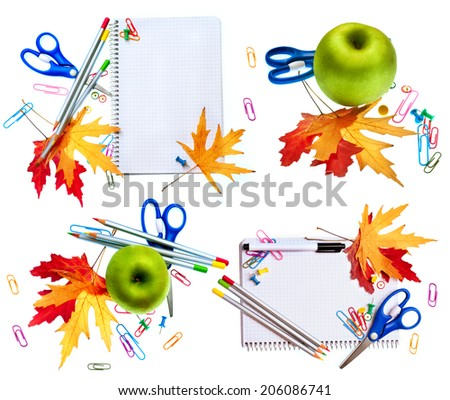 School tools isolated on white background. Back To School concept. Set of School and education design with blank textbook, apple, autumn leaves, pen, scissors and colored pencil - stock photo