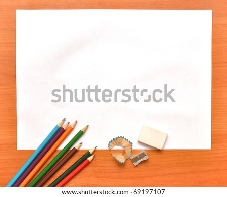 School tools on wooden board - stock photo