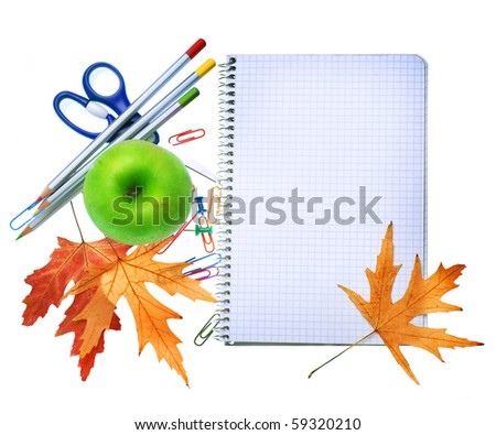 School Tools over white.Education concept - stock photo