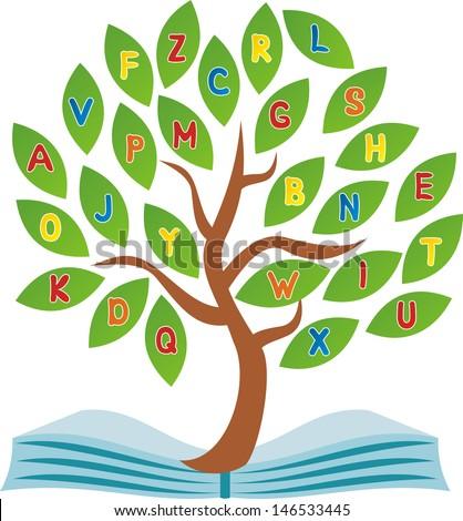 School tree illustration - stock photo