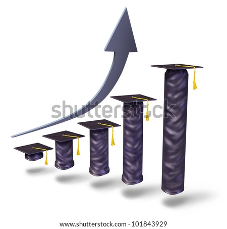 School tuition rising with graduation caps gradually increasing in height as a financial business graph to show the higher college university and high school education fees white. - stock photo