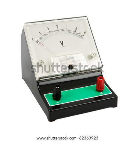 School voltmeter isolated on white background - stock photo