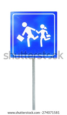 School warning crosswalk street sign on a rod isolated on white - stock photo