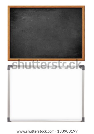 school whiteboard and chalkboard or blackboard - stock photo