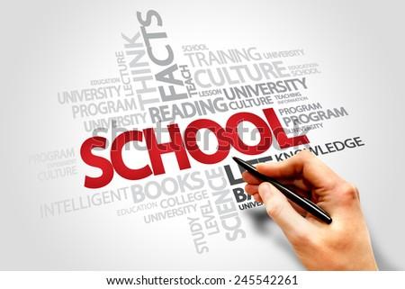 School words cloud concept  - stock photo
