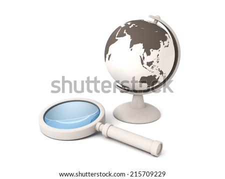 school world globe and a magnifying glass. 3d render illustration - stock photo