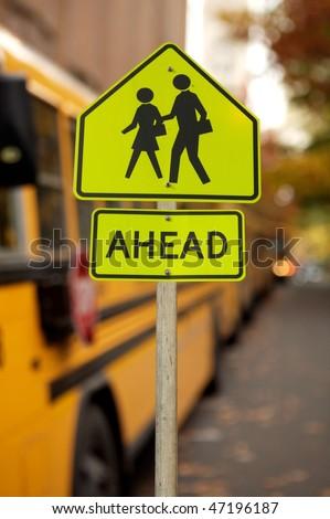 School zone traffic sign - stock photo