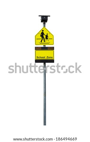 School zone warning sign isolated on white with clipping path - stock photo