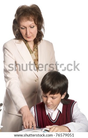 schoolboy and teacher isolated on white background - stock photo