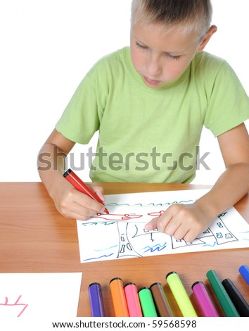 Schoolboy doing bored his homework on white background - stock photo