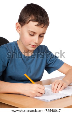 Schoolboy doing his homework at his desk