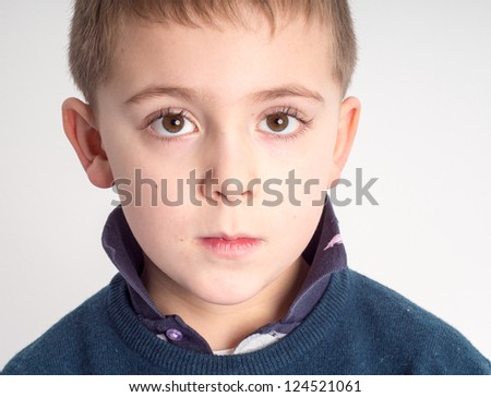 Schoolboy facial expression - Portrait of a child