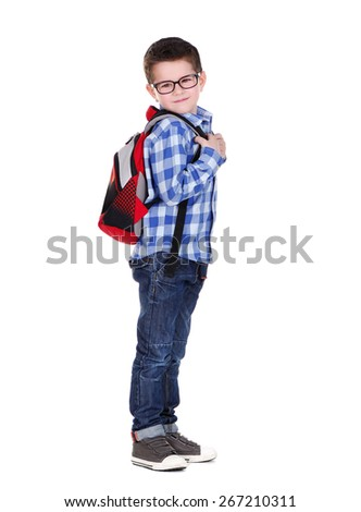 schoolboy full length side view portrait - stock photo