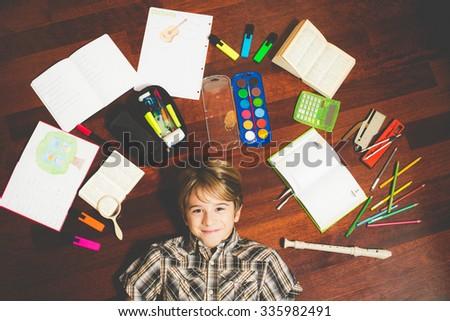 schoolboy homework - stock photo